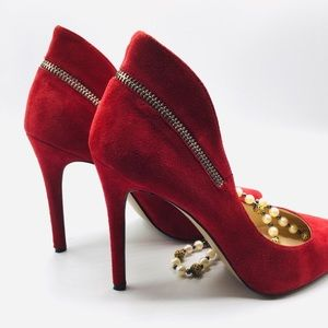 Nine West Red Suede High Heels 8M